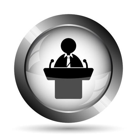 rostrum: Speaker icon. Speaker website button on white background. Stock Photo