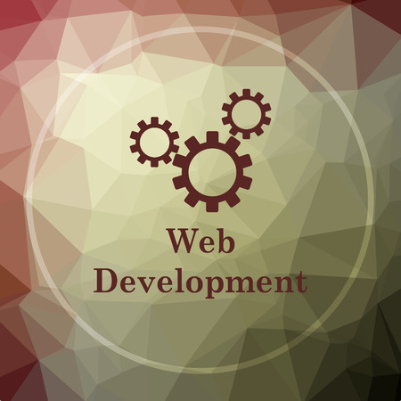 web development: Web development icon. Web development website button on khaki low poly background.