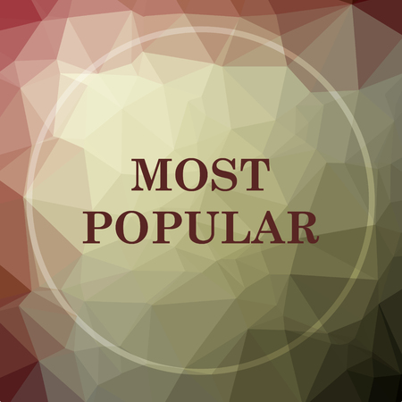 most popular: Most popular icon. Most popular website button on khaki low poly background.