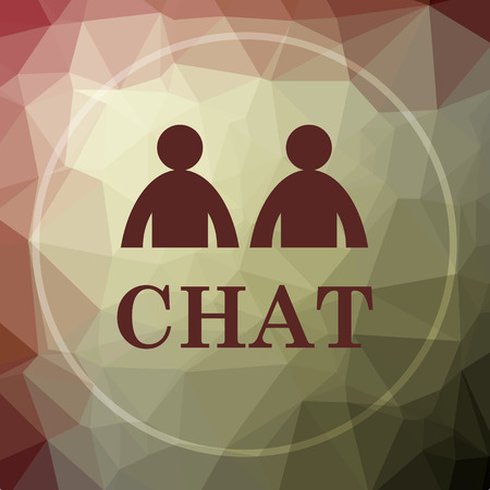 instant message: Chat icon. Chat website button on khaki low poly background.