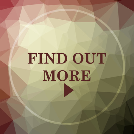 find out: Find out more icon. Find out more website button on khaki low poly background. Stock Photo