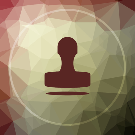 qualify: Stamp icon. Stamp website button on khaki low poly background.