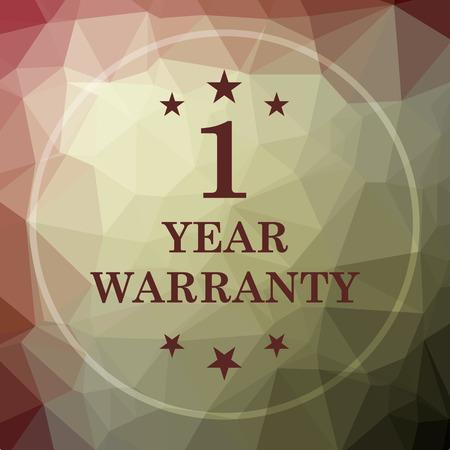 1 year warranty: 1 year warranty icon. 1 year warranty website button on khaki low poly background.