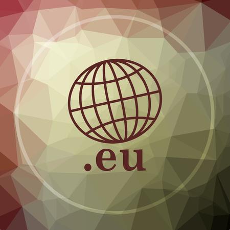 eu: .eu icon. .eu website button on khaki low poly background.