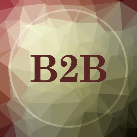 b2b: icono de B2B. botón de página web B2B en color caqui fondo poli baja. Foto de archivo