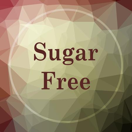 Sugar free icon. Sugar free website button on khaki low poly background. Reklamní fotografie