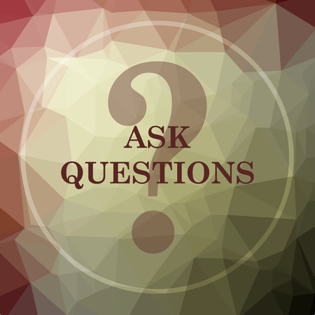 qa: Ask questions icon. Ask questions website button on khaki low poly background. Stock Photo