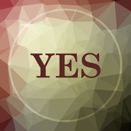 Yes icon. Yes website button on khaki low poly background. Stock Photo