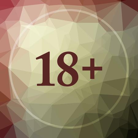 18 plus icon. 18 plus website button on khaki low poly background. Stock Photo