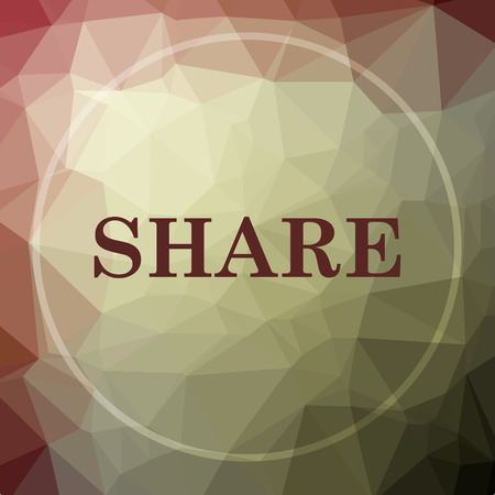 khaki: Share icon. Share website button on khaki low poly background. Stock Photo