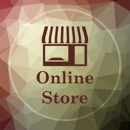 mall signs: Online store icon. Online store website button on khaki low poly background. Stock Photo