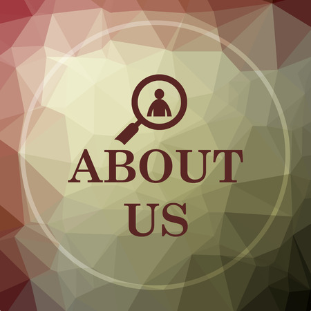 about: About us icon. About us website button on khaki low poly background.