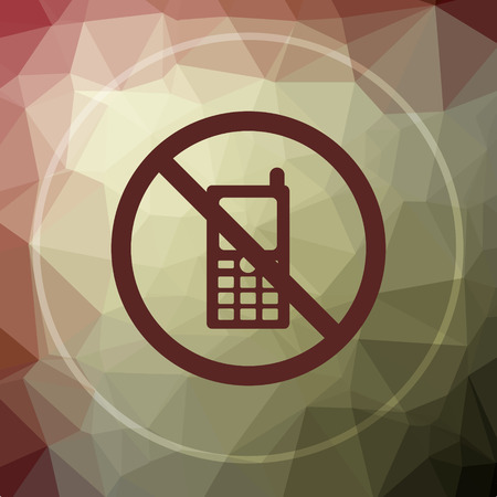use regulations: Mobile phone restricted icon. Mobile phone restricted website button on khaki low poly background. Stock Photo