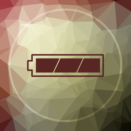 Fully charged battery icon. Fully charged battery website button on khaki low poly background.
