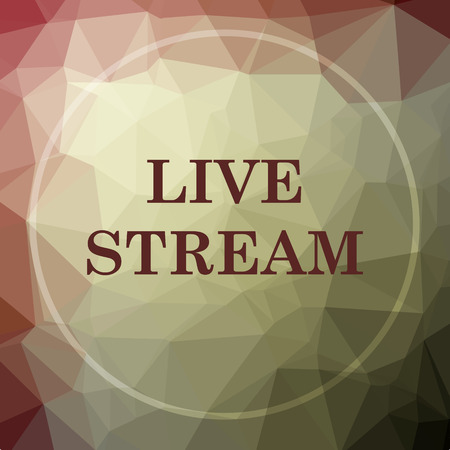 news cast: Live stream icon. Live stream website button on khaki low poly background. Stock Photo