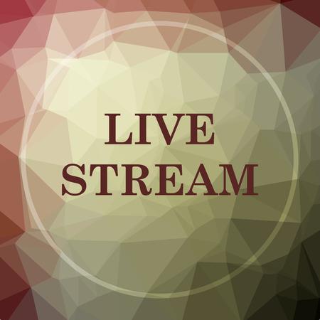 news cast: Live stream icon. Live stream website button on khaki low poly background. Stock Photo