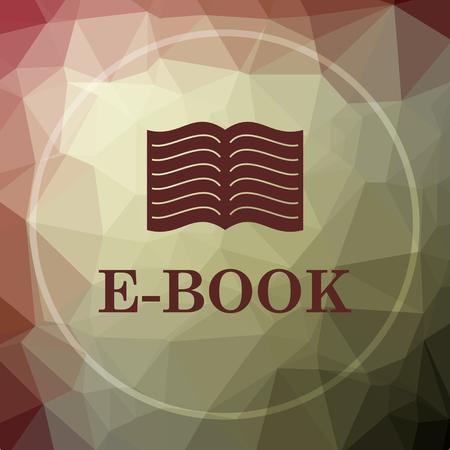 E-book icon. E-book website button on khaki low poly background.