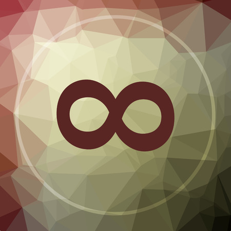 Infinity sign icon. Infinity sign website button on khaki low poly background.
