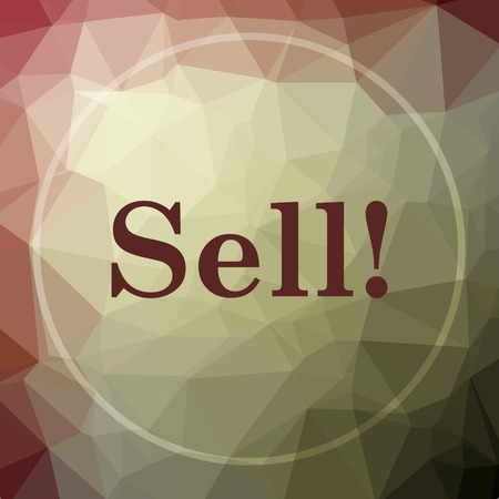 sell: Sell icon. Sell website button on khaki low poly background.