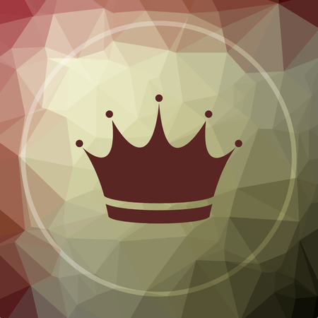 royal person: Crown icon. Crown website button on khaki low poly background.