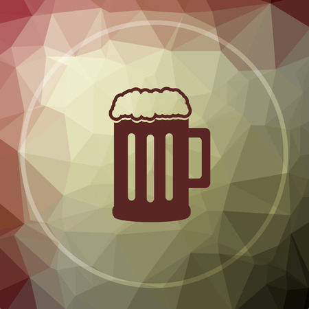 Beer icon. Beer website button on khaki low poly background. Stock Photo