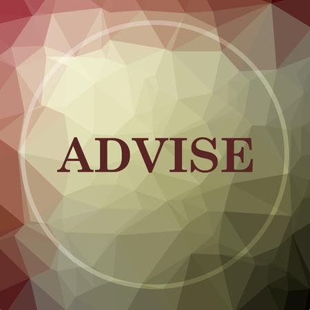 advise: Advise icon. Advise website button on khaki low poly background.