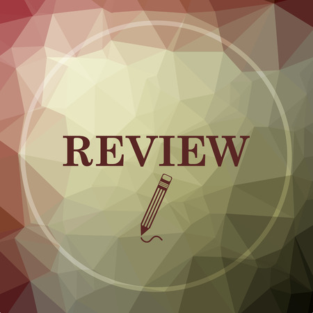 worthy: Review icon. Review website button on khaki low poly background.