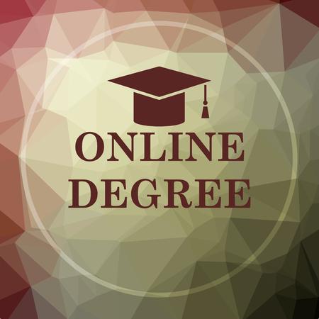 online degree: Online degree icon. Online degree website button on khaki low poly background. Stock Photo