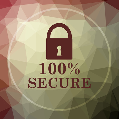 100 percent secure icon. 100 percent secure website button on khaki low poly background.