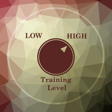 efficacy: Training level icon. Training level website button on khaki low poly background.