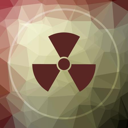 nuke: Radiation icon. Radiation website button on khaki low poly background.