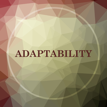 adapting: Adaptability icon. Adaptability website button on khaki low poly background. Stock Photo