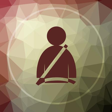 cinturon seguridad: icono de cinturón de seguridad. botón de página web del cinturón de seguridad en el fondo de color caqui poli baja. Foto de archivo
