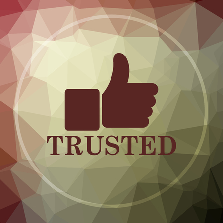 trusted: Trusted icon. Trusted website button on khaki low poly background.