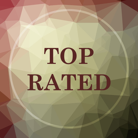 rated: Top rated  icon. Top rated  website button on khaki low poly background.