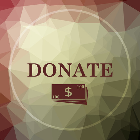 aiding: Donate icon. Donate website button on khaki low poly background. Stock Photo