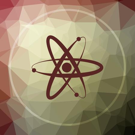 gamma radiation: Atoms icon. Atoms website button on khaki low poly background.