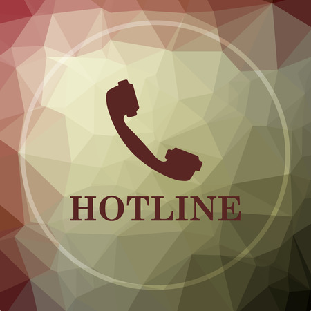 hotline: Hotline icon. Hotline website button on khaki low poly background.