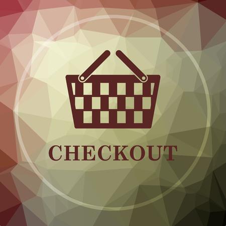 checkout: Checkout icon. Checkout website button on khaki low poly background. Stock Photo