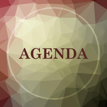 agenda: Agenda icon. Agenda website button on khaki low poly background.