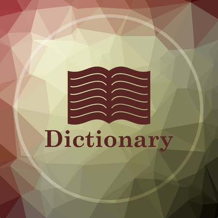 khaki: Dictionary icon. Dictionary website button on khaki low poly background. Stock Photo