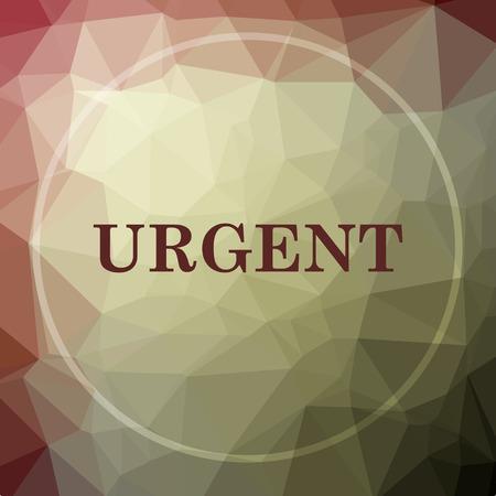 promptness: Urgent icon. Urgent website button on khaki low poly background. Stock Photo