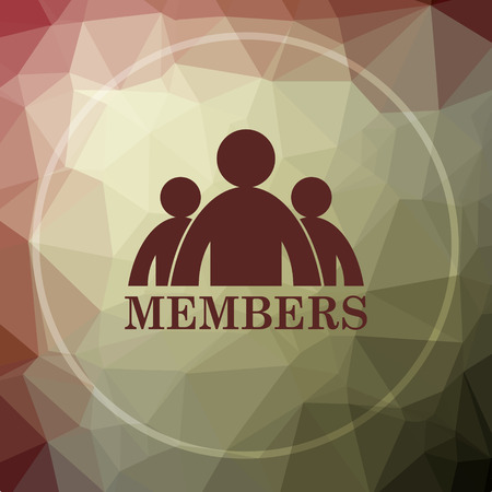 members: Members icon. Members website button on khaki low poly background.