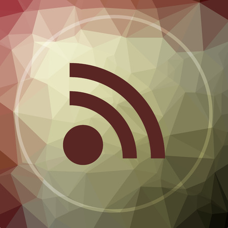meta: Rss sign icon. Rss sign website button on khaki low poly background. Stock Photo