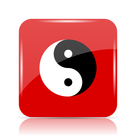 Ying yang icon. Ying yang website button on white background.