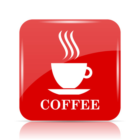 Coffee cup icon. Coffee cup website button on white background. Stock Photo