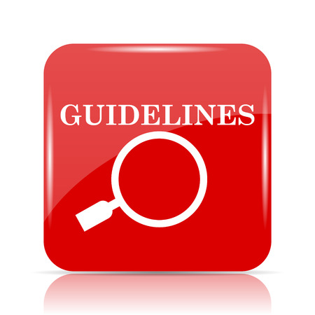 guidelines: Guidelines icon. Guidelines website button on white background.
