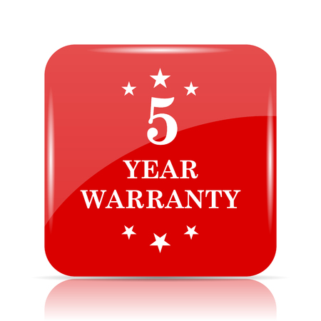 5 year warranty icon. 5 year warranty website button on white background. Stock Photo