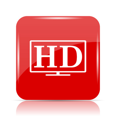 HD TV icon. HD TV website button on white background.