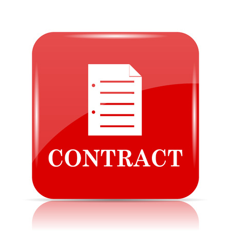 contraction: Contract icon. Contract website button on white background. Stock Photo